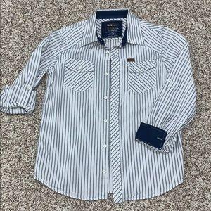 EPIC THREADS Boys White Blue Pin Stripe Button